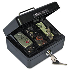 Accufax 04801 Select Individual-Size Cash Box, 4-Compartment Tray, 2 Keys, Black/Silver Handle