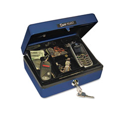 Accufax 04802 Select Personal-Size Cash Box, 4-Compartment Tray, 2 Keys, Blue W/Silver Handle