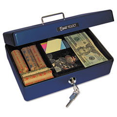 Accufax 04803 Select Compact-Size Cash Box, 4-Compartment Tray, 2 Keys, Blue W/Silver Handle