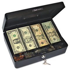 Accufax 04804 Select Spacious Size Cash Box, 9-Compartment Tray, 2 Keys, Black W/Silver Handle