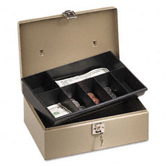 Pm company securit - lock?????????n latch steel cash box w/7 compartments, key lock, pebble beige, sold as 1 ea