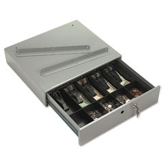 Accufax 04964 Steel Cash Drawer W/Alarm Bell & 10 Compartments, Key Lock, Stone Gray