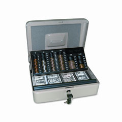 Pm company - 3-in-1 cash-change-storage steel security box w/key lock, pebble beige, sold as 1 ea