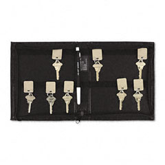 "Accufax 04987 Security-Backed Zippered Case, 144-Key,Vinyl, Black, 7"" X 1"" X 8 3/8"""