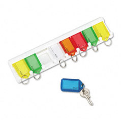 "Accufax 04991 Color-Coded Key Tag Rack, 8-Key, Plastic, White, 10 1/2"" X 1/4"" X 2 1/2"""