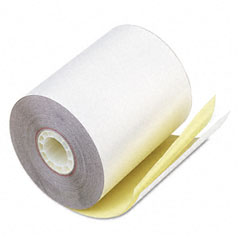"Accufax 07685 Paper Rolls, Teller Window/Financial, 3-1/4"" X 80 Ft, White/Canary, 60/Carton"