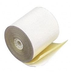 "Accufax 08963 Paper Rolls, Teller Window/Financial, 3"" X 90 Ft, 2-Ply White/Canary, 50/Carton"