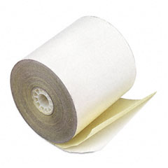 "Accufax 09225 Paper Rolls, Credit Verification, 2-1/4"" X 70 Ft, White/Canary, 50/Carton"