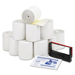 "Accufax 09300 Paper Rolls, Credit Verification Kit, 3"" X 90 Ft, White/Canary, 10/Carton"