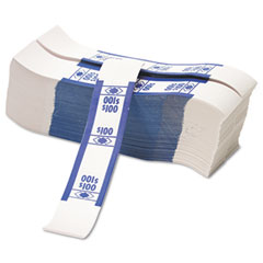 Accufax 55027 Color-Coded Kraft Currency Straps, Dollar Bill, $100, Self-Adhesive, 1000/Pack