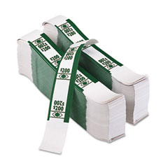 Accufax 55028 Color-Coded Kraft Currency Straps, Dollar Bill, $200, Self-Adhesive, 1000/Pack