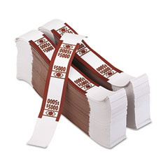 Accufax 55033 Color-Coded Kraft Currency Straps, $50 Bill, $5000, Self-Adhesive, 1000/Pack
