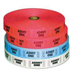 Pm company - admit-one ticket multi-pack, 4 rolls, 2 red, 1 blue, 1 white, 2000/roll, sold as 1 pk
