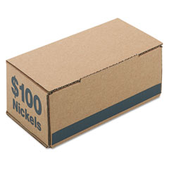 Accufax 61005 Corrugated Cardboard Coin Storage W/Denomination Printed On Side, Blue