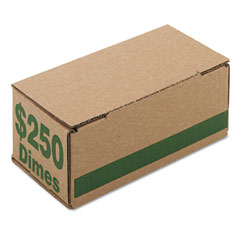 Accufax 61010 Corrugated Cardboard Coin Storage W/Denomination Printed On Side, Green