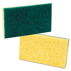 Lagasse 174 Medium Duty Scrubbing Sponge, 3 5/8 X 6 1/4, Yellow/Green, 20/Carton
