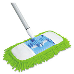 Quickie - microfiber dust mop, 48-inch steel handle, green, each, sold as 1 ea