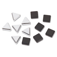 Quartet - metallic magnets, magnetic, black; silver, 12/pack, sold as 1 pk