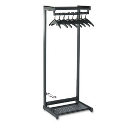 Quartet 20222 Single-Side, Garment Rack W/Two Shelves, Eight Hangers, Steel, Black