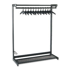 "Quartet 20224 48"" Wide Single-Sided Rack W/Two Shelves, 16 Hangers, Steel, Black"