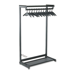 "Quartet 20225 36"" Wide Single-Sided Rack W/Two Shelves, 16 Hangers, Steel, Black"