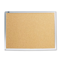 Quartet - cork bulletin board, natural cork/fiberboard, 24 x 18, aluminum frame, sold as 1 ea
