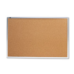 Quartet - cork bulletin board, natural cork/fiberboard, 36 x 24, aluminum frame, sold as 1 ea