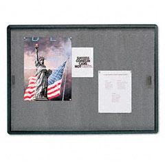 Quartet - enclosed bulletin board, fabric/cork/glass, 48 x 36, gray, aluminum frame, sold as 1 ea