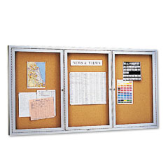 Quartet - enclosed bulletin board, natural cork/fiberboard, 72 x 36, aluminum frame, sold as 1 ea