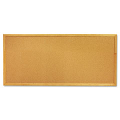 Quartet - slim line bulletin board, natural cork/fiberboard, 12 x 36, oak frame, sold as 1 ea