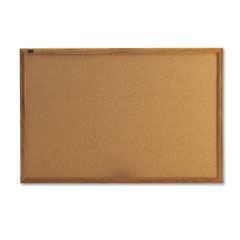 Quartet - cork bulletin board, cork over fiberboard, 36 x 24, natural oak frame, sold as 1 ea