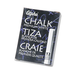 Quartet - alpha nontoxic low dust chalk, white, 12 sticks/pack, sold as 1 pk