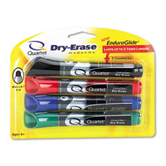 Quartet 5001-1M Enduraglide Dry Erase Markers, Bullet Tip, Assorted Colors, 4/Set