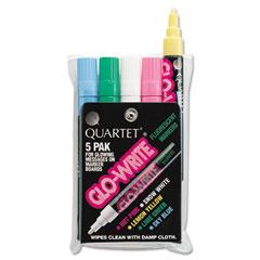 Quartet 5090 Glo-Write Fluorescent Markers, Five Assorted Colors, 5/Set