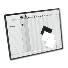 Quartet - magnetic employee in/out board, porcelain, 24 x 18, gray/black, aluminum frame, sold as 1 ea