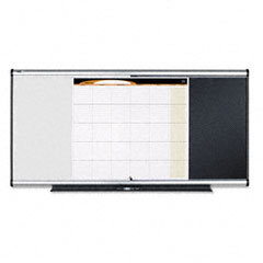 Quartet - 3-in-1 board, embossed foam, 35 x 24, black/white, gray aluminum/plastic frame, sold as 1 ea