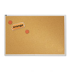 Quartet - natural cork bulletin board, 72 x 48, anodized aluminum frame, sold as 1 ea