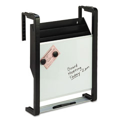 Quartet OFD Hanging File Pocket With Dry Erase, Letter, Three Pocket, Black/Silver