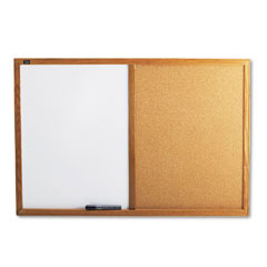 Quartet - combo bulletin board, dry-erase melamine/cork, 36 x 24, white, oak frame, sold as 1 ea