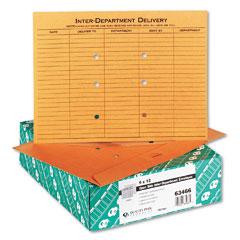 Quality Park 63466 Brown Kraft Resealable Redi-Tac Open Side Interoffice Envelope, 12 X 9, 100/Box