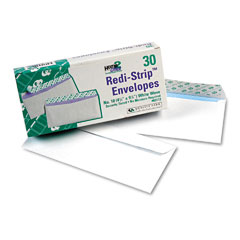 Quality Park 69112 Redi-Strip Security Tinted Envelope, Contemporary, #10, White, 30/Box