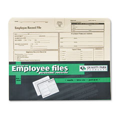 Quality Park 69998 Employee Record Folder, Top Tab, Letter, Manila, 20/Pack