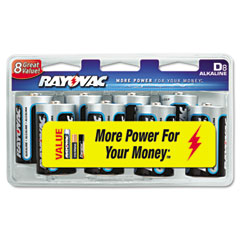Rayovac 813-8CD Alkaline Batteries, D, 8/Pack