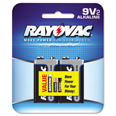Rayovac A1604-2D Alkaline Batteries, 9V, 2/Pack