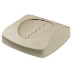 Rubbermaid commercial - swing top lid for untouchable recycling center, 16-inch square, beige, sold as 1 ea