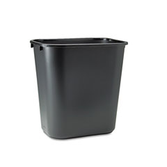 Rubbermaid commercial - soft molded plastic wastebasket, rectangular, 7 gal, black, sold as 1 ea