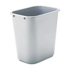 Rubbermaid commercial - soft molded plastic wastebasket, rectangular, 7 gal, gray, sold as 1 ea