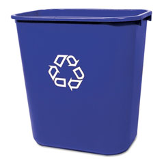 Rubbermaid commercial - medium deskside recycling container, rectangular, plastic, 28 1/8 qt, blue, sold as 1 ea
