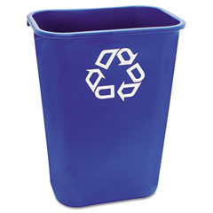 Rubbermaid commercial - large deskside recycle container w/symbol, rectangular, plastic, 41 1/4 qt, blue, sold as 1 ea