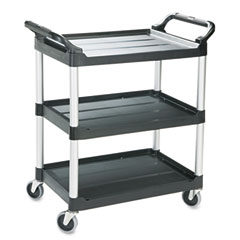 RCP 342488BLA Economy Plastic Cart, 3-Shelf, 18-5/8W X 33-5/8D X 37-3/4H, Black